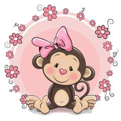 Greeting card cute Monkey girl