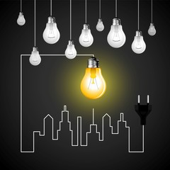 Business cityscape with bulb, electricity symbol