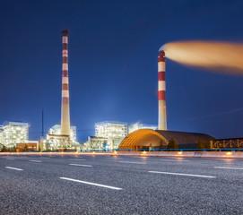 Wall Murals illuminated oil refinery factory