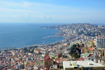 landscape with Naples city bay in south Italy