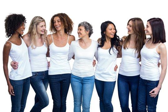 Happy multiethnic women standing together