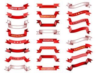Set of vintage red ribbon banner. Vector collection of ribbon scroll and curled label. Qualitative vector element for design, badges, awards, advertisement, labels, etc