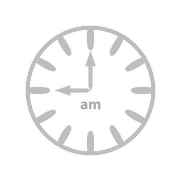 Clock showing 9am