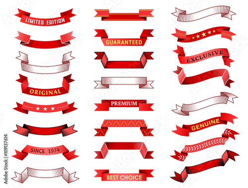 set of vintage red ribbon banner vector collection of ribbon scroll and curled label
