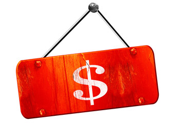 dollar sign, 3D rendering, vintage old red sign