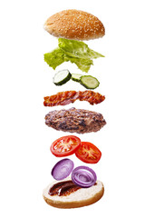 floating big bacon barbecue burger elements white background