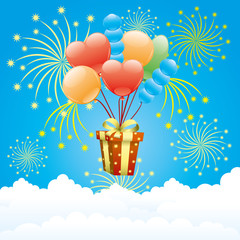 Balloons, firework and gift box.