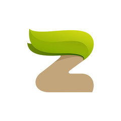 Z letter logo with green leaves.