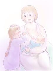 赤ちゃんに授乳しながら小さい娘を慰める優しいお母さん