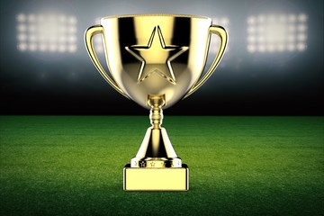 gold star trophy with football field background
