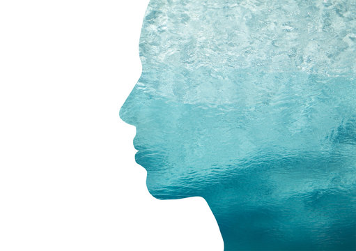 double exposure woman profile with water
