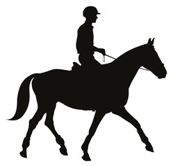 Horse rider vector silhouette. EPS 10