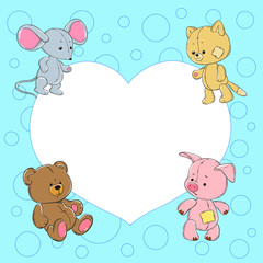 Cute baby frame with animals. Plush mouse, cat, bear, pig.