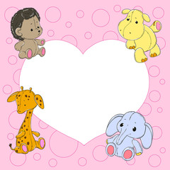 Children frame with cute animals. Toys giraffe, elephant, hedgehog, hippo.