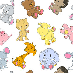 Seamless pattern with cute animals on a white background. Elephant, giraffe, hippopotamus, bear, pig, cat, mouse, rabbit, hedgehog. Vector.