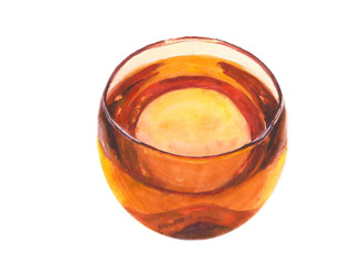 Bowl with drink watercolor painting isolated