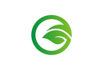 green leaf round eco logo