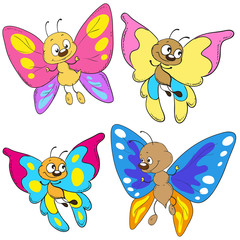 Set of cartoon butterflies. Funny insects.