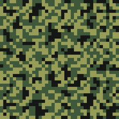 Digital pixel camouflage seamless pattern