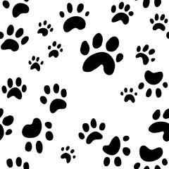 dog paw print or tracks illustration, puppy paw prints seamless wallpaper, animal print vector background