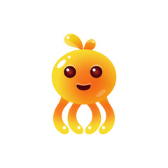 Yellow Balloon Octopus Character