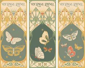 Vintage labels: butterfly vector