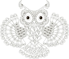 Zentangle stylized flying owl black and white hand drawn, vector illustration