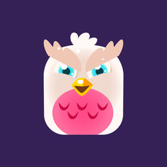Pink Owl Chick Square Icon