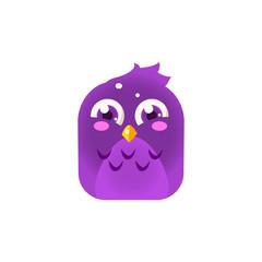 Purple Giggling Chick Square Icon