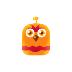 Orange Angry Chick Square Icon