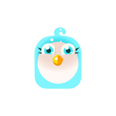 Blue Adorable Chick Square Icon