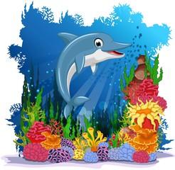 Aluminium Prints Submarine dolphin cartoon with corals background