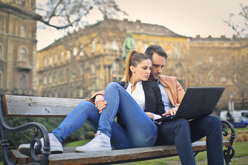 Couple sitting at the park