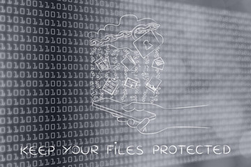 cloud with lock & documents over mobile, keep your files protect