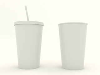 Several different paper cup set with white blank for design. Isolated on background. High resolution 3d illustration