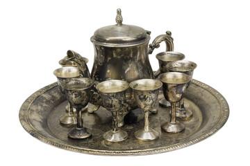 Set for liqueur from false silver