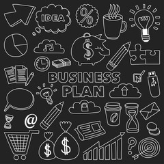 Vector set of doodle business icons on blackboard
