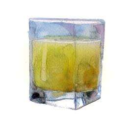 watercolor sketch: a glass of juice on white background