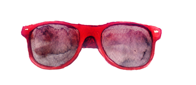 watercolor sketch: sunglasses on a white background