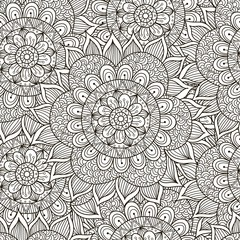 Floral ornament seamless pattern. Black and white round ornament texture in vector. Great choice for wrapping, printing and fabric paper and for adult coloring page