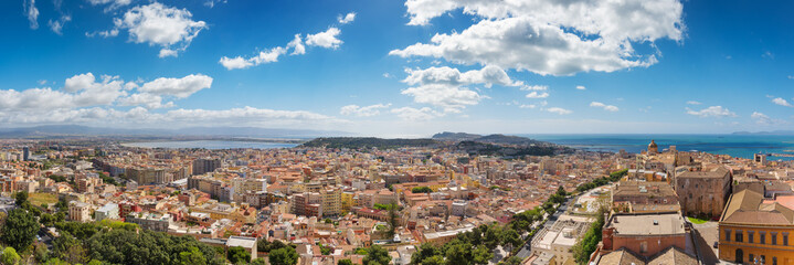"Panoramic view of Cagliari, south view with the ""Urpinu and Sella del Diavolo"" hill's in distance"
