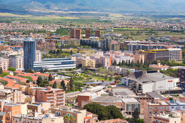 """Aerial view of the neighborhood """"Parco della Musica"""" in cagliari - modern urban residential district"""