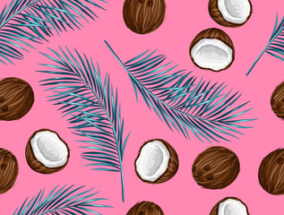 Seamless pattern with coconuts. Tropical abstract background in retro style. Easy to use for backdrop, textile, wrapping paper, wall posters