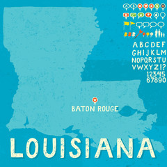 Map of Louisiana with icons