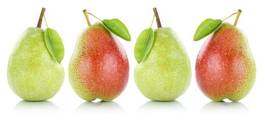Sammlung Birnen Birne Früchte Obst in einer Reihe Freisteller f