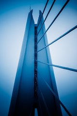 Cable stayed bridge,blue toned image.