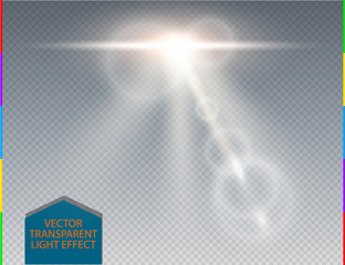 Vector white skyline lens flare transparent special light effect. Abstract blur sun glow ray with spotlight. Isolated transparent background. Decoration design element. Space flare.