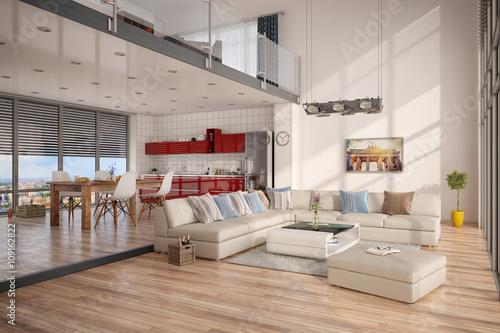 minimalistisch modern eingerichtetes loft mit wohnzimmer k che und essecke stockfotos und. Black Bedroom Furniture Sets. Home Design Ideas