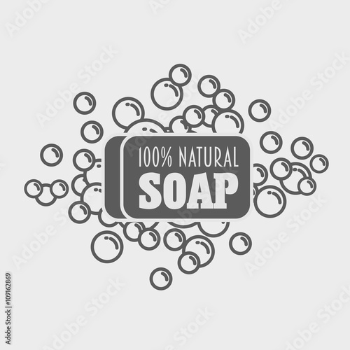 "natural soap with foam. vector logo, label or sign template"" stock"