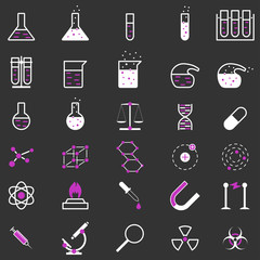 Set of chemistry and medicine icons. Science, education. Flat style. Vector illustration.